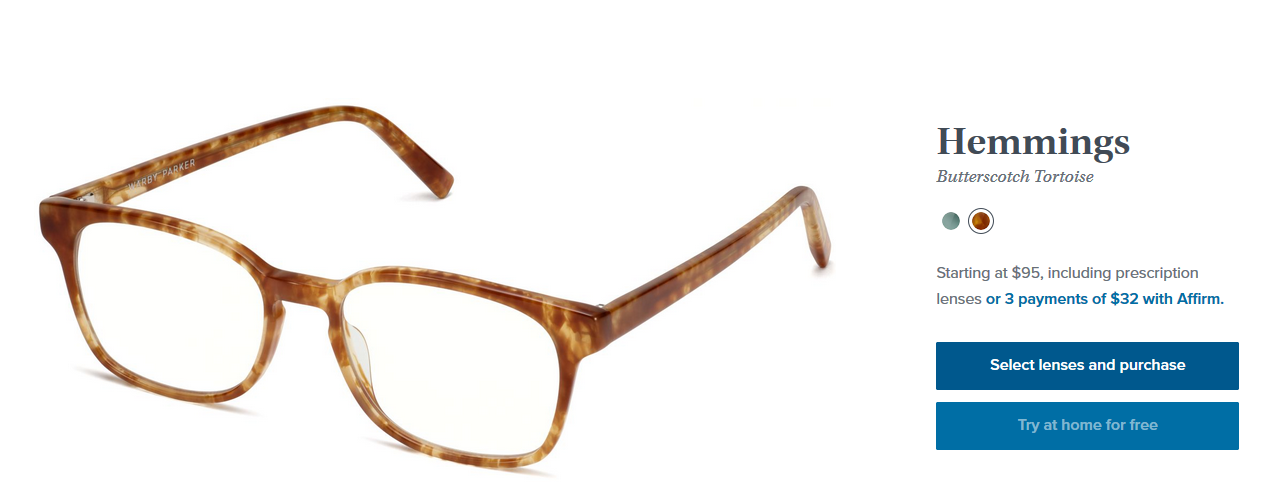 Product screenshot of a pair of glasses