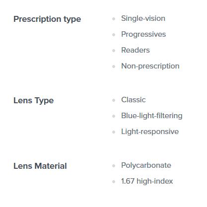 Product information excerpt