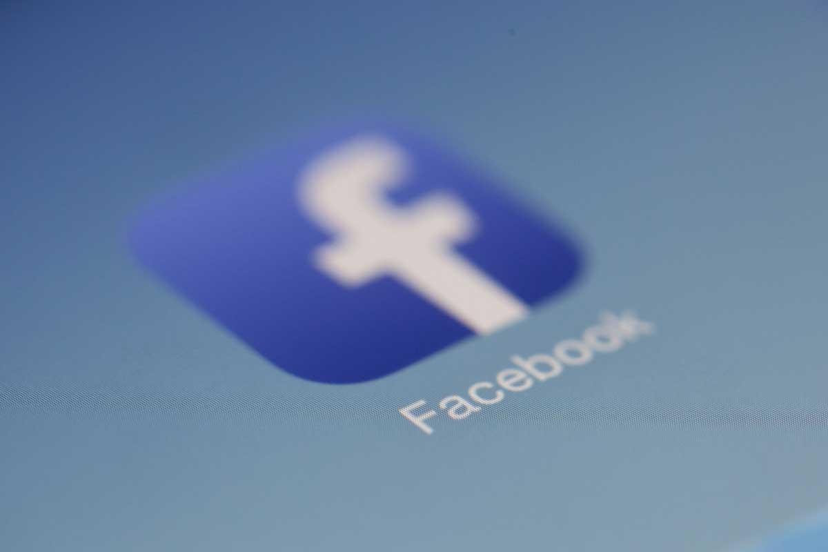 Facebook icon on a screen