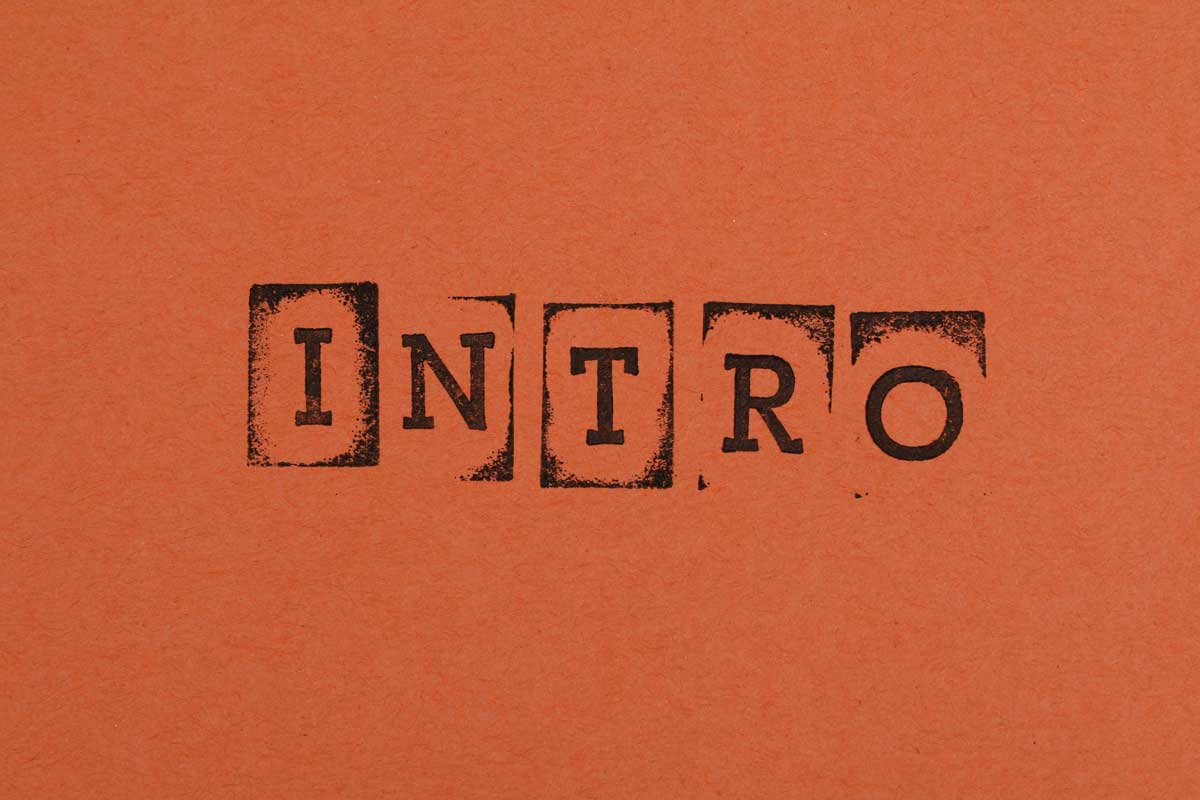 Stylised print showing the words 'Intro'
