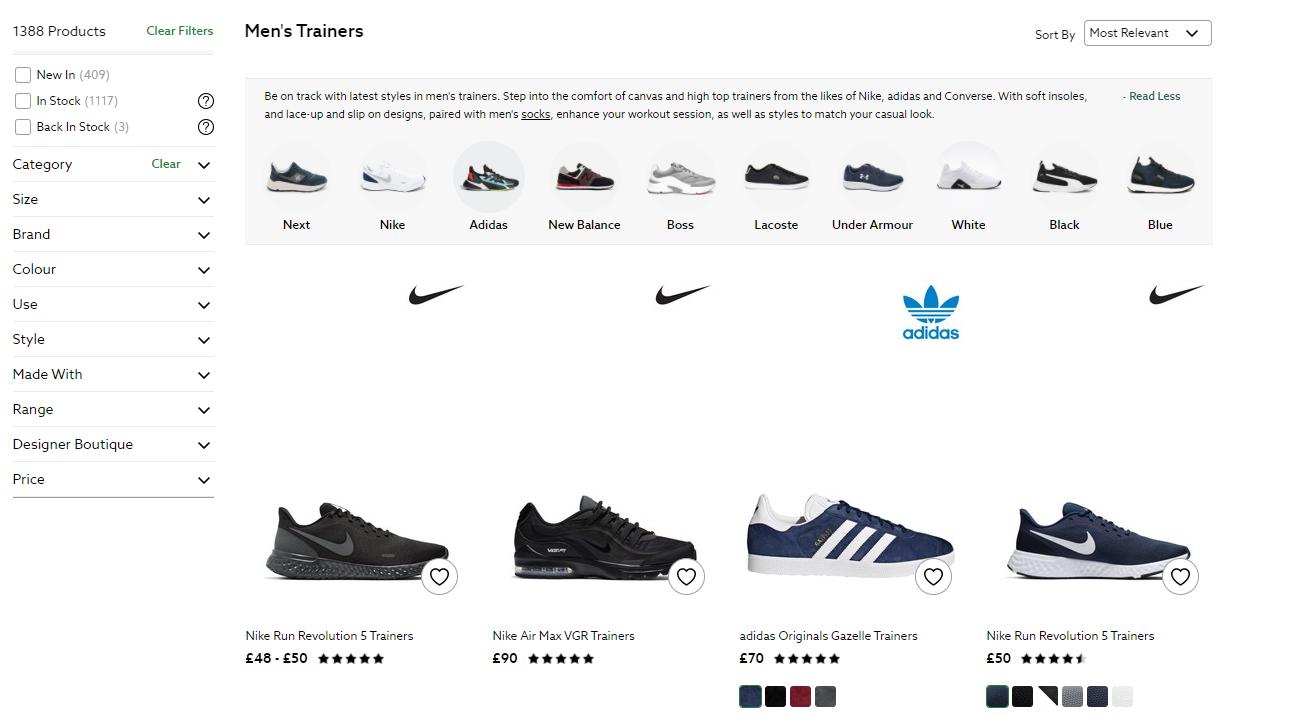 Website category page SEO - Shows shoe retailer screenshot