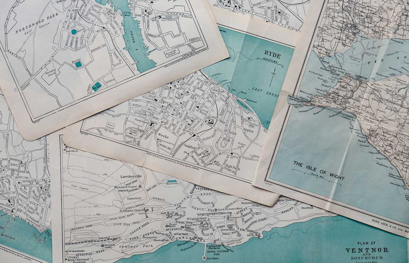Shows a collection of local maps