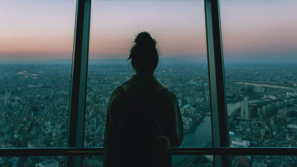 Looking out at a city skyline